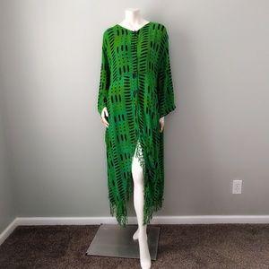 Vintage Boho Green Tie Dye Fringe Caftan Dress OS